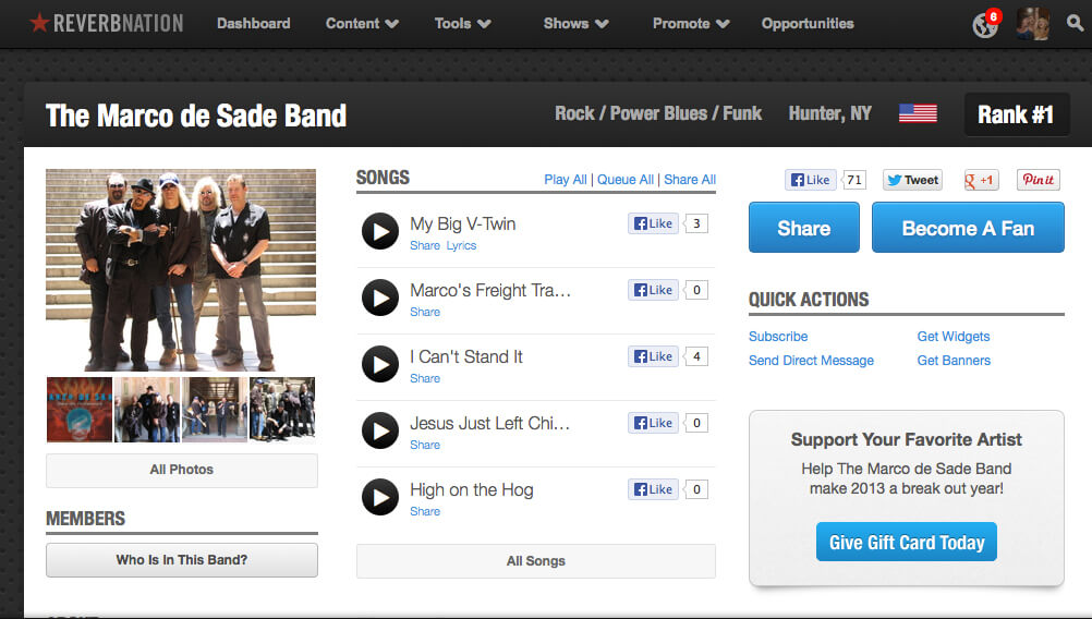 Marco De Sade band hits #1 in the rock charts on ReverbNation